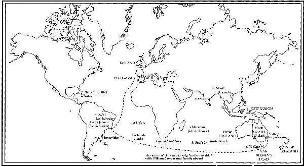 William Cowper Ship Route of the Inispensable Brig