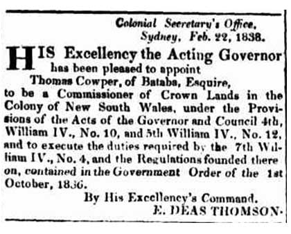 Thomas Cowper commissioner of crown lands